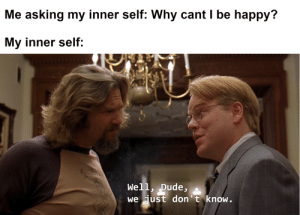 Dank, Dude, and Memes: Me asking my inner self: Why cant I be happy?  My inner self:  Well, Dude,  we just don't know. me irl by Niggothereal MORE MEMES