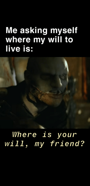 Corey Taylor need to be a meme.: Me asking myself  where my will to  live is:  Where is your  will, my friend? Corey Taylor need to be a meme.