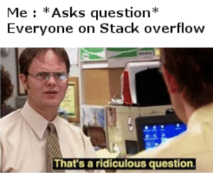 Be Like, Asks, and Stack: Me : *Asks question*  Everyone on Stack overflow  That's a ridiculous question It do be like that sometimes