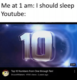 Big ass mood: Me at 1 am: I should sleep  Youtube:  10  0:59  Top 10 Numbers from One through Ten!  BruceWillakers 495K views 2 years ago Big ass mood
