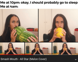 All Star, Go to Sleep, and Reddit: Me at 10pm: okay, I should probably go to sleep  Me at 4am:  Smash Mouth - All Star (Melon Cover) Dammit, not again