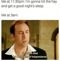 Memes, Declaration of Independence, and 🤖: Me at 11:30pm: I'm gonna hit the hay  and get a good night's sleep  Me at 3am.  lim gonna steal  the Declaration of Independence. I jerked off 3 times goodnight 😉 • Follow for more and turn on Post Notifications
