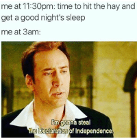 Who made this I wanna give you credit bc it's the best meme ever and I feel like ur inside of me: me at 11 30pm: time to hit the hay and  get a good night's sleep  me at 3am  Rm gonna steal  the Declaration of Independence. Who made this I wanna give you credit bc it's the best meme ever and I feel like ur inside of me
