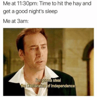 Declaration of Independence, Good, and Time: Me at 11:30pm: Time to hit the hay and  get a good night's sleep  Me at 3am:  im gonna steal  the Declaration of Independence
