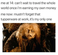 Money, Work, and Travel: me at 14: can't wait to travel the whole  world once i'm earning my own money  me now: mustn't forget that  tupperware at work, it's my only one meirl