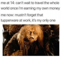 Funny, Life, and Money: me at 14: can't wait to travel the whole  world once i'm earning my own money  me now: mustn't forget that  tupperware at work, it's my only one