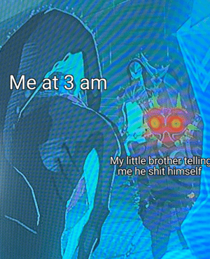 Shit, Dank Memes, and Little Brother: Me at 3 am  My little brother telling  me he shit himself Interesting