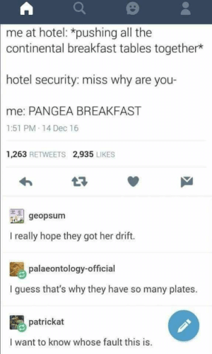 29+ Fresh Tumblr Posts You Should Not Miss - Funquila: me at hotel: *pushing all the  continental breakfast tables together*  hotel security: miss why are you-  me: PANGEA BREAKFAST  1:51 PM-14 Dec 16  1,263 RETWEETS 2,935 LIKES  t7  geopsum  I really hope they got her drift.  palaeontology-official  I guess that's why they have so many plates.  patrickat  I want to know whose fault this is. 29+ Fresh Tumblr Posts You Should Not Miss - Funquila