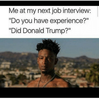 """Donald Trump, Job Interview, and Memes: Me at my next job interview:  """"Do you have experience?""""  """"Did Donald Trump?"""" Welp"""