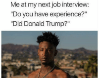 """Donald Trump, Job Interview, and Memes: Me at my next job interview:  """"Do you have experience?""""  """"Did Donald Trump?"""" First thing that made me laugh this morning!"""