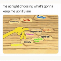 🤔 hmmm ...: me at night choosing what's gonna  keep me up til 3 am  witter  netflix  overthinking  outube  depression  instagram  stress  watching  ines  anxiety 🤔 hmmm ...