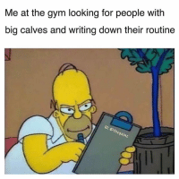 Gym, Memes, and Tbt: Me at the gym looking for people with  big calves and writing down their routine  th Tbt