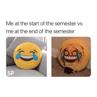 True, So True, and The End: Me at the start of the semester vs  me at the end of the semester  SP So true 😭