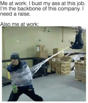 Ass, Dank, and Memes: Me at work: I bust my ass at this job.  I'm the backbone of this company. I  need a raise.  Also me at work: Meirl by chase2121dw MORE MEMES
