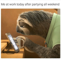Happy Monday! What did you do this weekend?: Me at work today after partying all weekend  OU Happy Monday! What did you do this weekend?