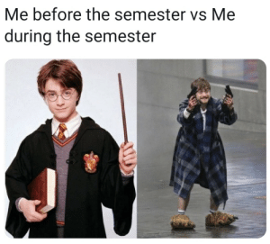 The, During, and Before: Me before the semester vs Me  during the semester