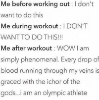 Accurate. 😂😭: Me before working out I don't  want to do this  Me during workout  l DON'T  WANT TO DO THIS!  Me after workout WOW I am  simply phenomenal. Every drop of  blood running through my veins is  graced with the ichor of the  gods...i am an Olympic athlete Accurate. 😂😭