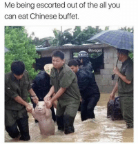 Chinese, The All, and MeIRL: Me being escorted out of the all you  can eat Chinese buffet.  @svagel meirl