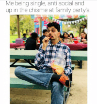 Family, Lmao, and Memes: Me being single, anti social and  up in the chisme at family partys. Lmao @sepasanmemes you a fool 😂 @mrchuy0123 MexicansProblemas
