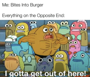 Why Does a Perfect Burger NOT EXIST!: Me: Bites Into Burger  Everything on the Opposite End:  00  1 gotta get out of here! Why Does a Perfect Burger NOT EXIST!
