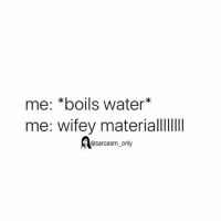 Funny, Memes, and Water: me: *boils water*  me: wifey materiall  @sarcasm_oniy SarcasmOnly