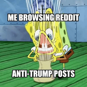 Enough already, I get that you don't like him but there are easier ways to get easy karma by OldManoftheNorth FOLLOW 4 MORE MEMES.: ME BROWSING REDDIT  ANTI-TRUMP POSTS Enough already, I get that you don't like him but there are easier ways to get easy karma by OldManoftheNorth FOLLOW 4 MORE MEMES.
