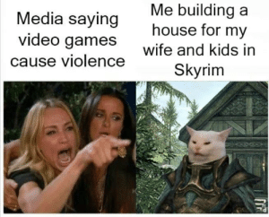 WE LIVE ON TWITCH RN  Come thru  Twitch.tv/SavinTheBees LINK IN BIO: Me building a  house for my  Media saying  video games  Wite and kids in  Skyrim  cause violence WE LIVE ON TWITCH RN  Come thru  Twitch.tv/SavinTheBees LINK IN BIO