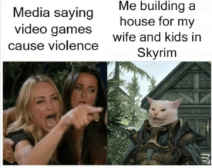 Skyrim, Video Games, and Games: Me building a  house for my  Media saying  video games  Wife and kids in  Skyrim  cause violence Just don't tell them that we all downloaded the kid-killing mod, too..