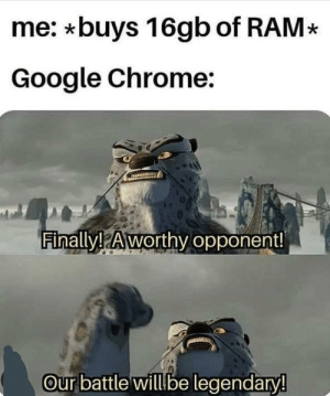 Chrome, Google, and Ram: me: *buys 16gb of RAM*  Google Chrome:  Finally! Aworthv opponent!  Our battle will be legendary!