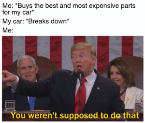 Accurate.: Me: ^Buys the best and most expensive parts  for my car*  My car: *Breaks down*  Me:  You weren't supposed to do that Accurate.