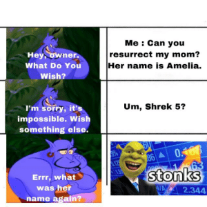 Funny, Shrek, and Sorry: Me Can you  resurrect my mom?  Her name is Amelia.  Hey, owner.  What Do You  Wish?  I'm sorry, it's  Um, Shrek 5?  impossible. Wish  something else.  0168  63  stonks  86  0.12  15  Errr, what  was her  N/A  2.344  name again? Somebody Once Told Me