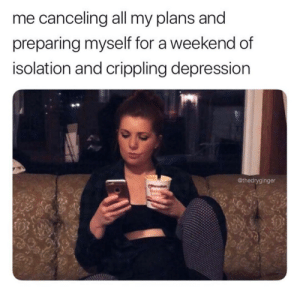 Tumblr, Depression, and Http: me canceling all my plans and  preparing myself for a weekend of  isolation and crippling depression  @thedryginger Follow us @studentlifeproblems​