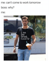 Dank, Work, and Good: me: can't come to work tomorrow  boss: why?  me:  I Am  Day  Drunk.  NOMA  Good Sir  R555 Lord Disick approves. Grab the shirt here: HeyBigOK.com
