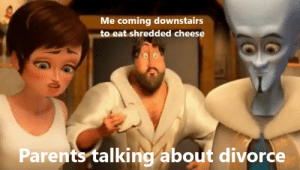 shredded: Me coming downstairs  to eat shredded cheese  Parents talking about divorce