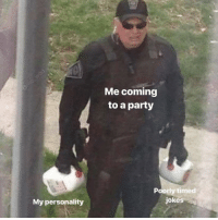 Party, Jokes, and Dank Memes: Me coming  to a party  Poorly timed  jokes  My personality @mo_wad