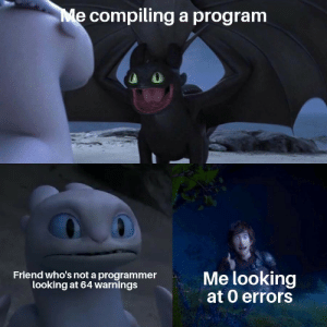 Build successful :): Me compilinga program  Me looking  at 0 errors  Friend who's not a programmer  looking at 64 warnings Build successful :)
