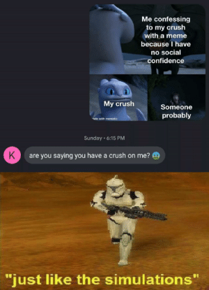 "have been sitting on this for a while now: Me confessing  to my crush  with a meme  because I have  no social  confidence  My crush  Someone  probably  ade with mematic  Sunday 6:15 PM  K  are you saying you have a crush on me?  ""just like the simulations"" have been sitting on this for a while now"