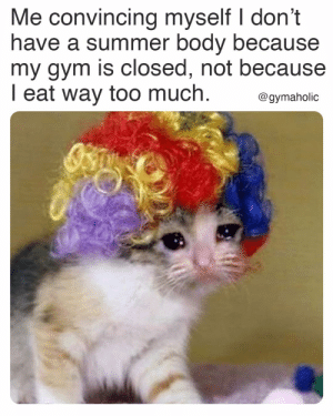 Me convincing myself I don't have a summer body because my gym is closed, not because I eat way too much.  Gymaholic App: https://www.gymaholic.co  #fitness #motivation #workout #meme #gymaholic: Me convincing myself I don't have a summer body because my gym is closed, not because I eat way too much.  Gymaholic App: https://www.gymaholic.co  #fitness #motivation #workout #meme #gymaholic