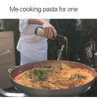 cooking: Me cooking pasta for one