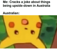 joke: Me: Cracks a joke about things  being upside-down in Australia  Australian: