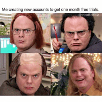 Me w- Amazon so I can get Prime exclusive items From @theofficelolz theoffice theofficeus dwightschrute rainnwilson: Me creating new accounts to get one month free trials.  @theofficelolz Me w- Amazon so I can get Prime exclusive items From @theofficelolz theoffice theofficeus dwightschrute rainnwilson