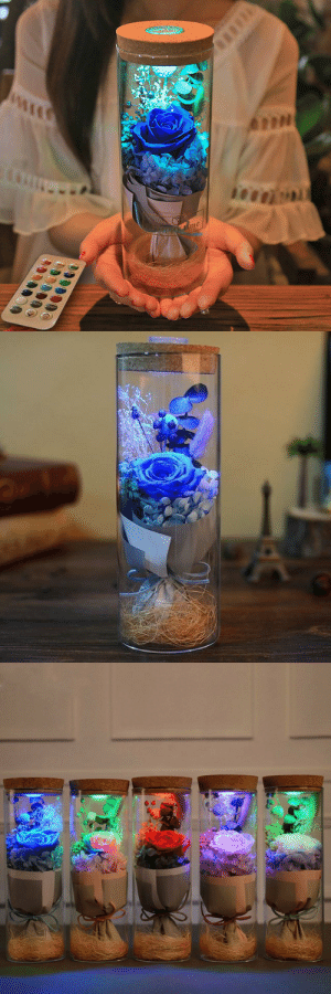 Beautiful, Cute, and Family: me cute-aesthetics-things:  Beautiful Luminous 16 Different LED Color Rose made with REAL preserved Flowers! The Perfect Gift for your Friends and Family! Comes with a 16 Color Remote Control LED Panel!= GET YOURS HERE =