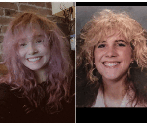 Me cutting my bangs in quarantine and my moms high school photo in 1987: Me cutting my bangs in quarantine and my moms high school photo in 1987
