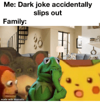 Family, Good, and Dark: Me: Dark joke accidentally  slips out  Family:  made with mematic I'm going to Kermit Not Feeling So Good