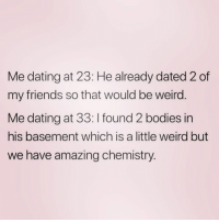 Bodies , Dating, and Friends: Me dating at 23: He already dated 2 of  my friends so that would be weird  Me dating at 33: I found 2 bodies in  his basement which is a little weird but  we have amazing chemistry. Too real 😂 ( @zero_fucksgirl )