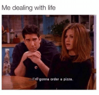 Life, Pizza, and Humans of Tumblr: Me dealing with life  col'm gonna order a pizza.