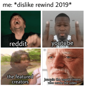 Reddit, youtube.com, and Video: me: *dislike rewind 2019*  reddit  youtube  the featured  Joaquin the unpaid intern  who made the video  creators X-Post from r/dankmemes