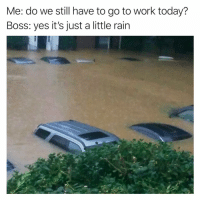 Funny, Uber, and Work: Me: do we still have to go to work today?  Boss: yes it's just a little rain 😐😐 does uber have boats?