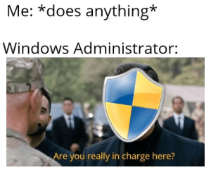 Windows, Charge, and You: Me: *does anything*  Windows Administrator:  Are you really in charge here? I just want to install a whole bunch of sketchy programs!