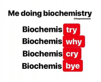 Memes, 🤖, and Cry: Me doing biochemistry  @thegreatzawari  Biochemis  Biochemis  Biochemis  Biochemis  try  why  cry  bye Make sure to vote!  Credit: Hamid Zawari